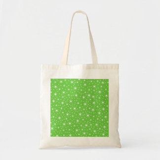 Green and White Star Pattern. Tote Bag