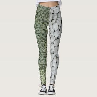 Green and White Stone Leggings