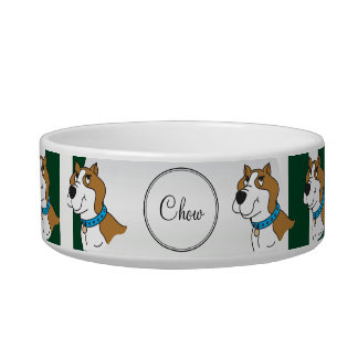 Green and White Stripe and Pitbull - DIY Name Bowl
