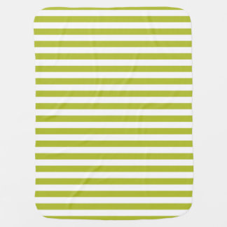 Green and White Stripe Pattern Baby Blanket