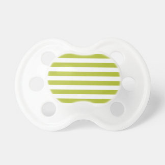 Green and White Stripe Pattern Baby Pacifier