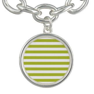 Green and White Stripe Pattern Bracelets