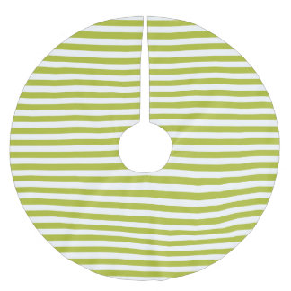 Green and White Stripe Pattern Brushed Polyester Tree Skirt