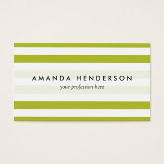 Green and White Stripe Pattern Business Card