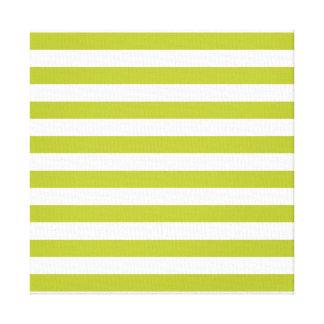 Green and White Stripe Pattern Canvas Print