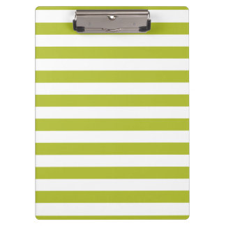 Green and White Stripe Pattern Clipboard