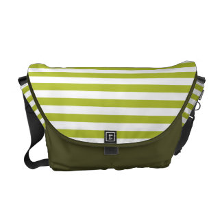 Green and White Stripe Pattern Commuter Bags