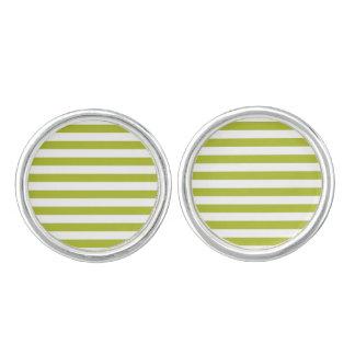 Green and White Stripe Pattern Cufflinks