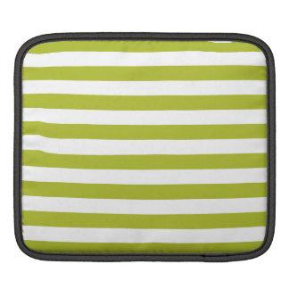 Green and White Stripe Pattern iPad Sleeve