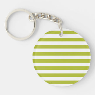 Green and White Stripe Pattern Keychain