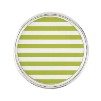 Green and White Stripe Pattern Lapel Pin