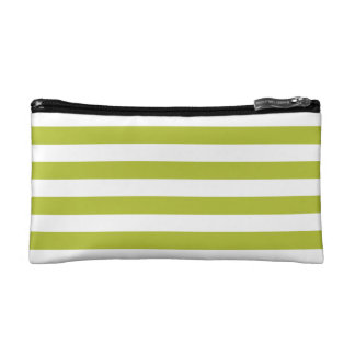 Green and White Stripe Pattern Makeup Bag