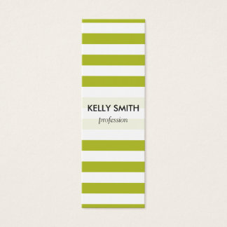 Green and White Stripe Pattern Mini Business Card
