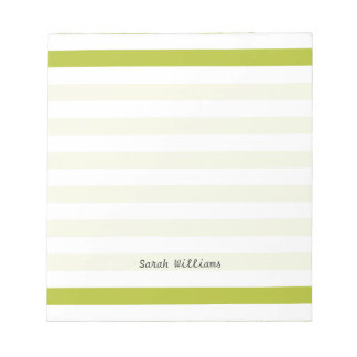 Green and White Stripe Pattern Notepad