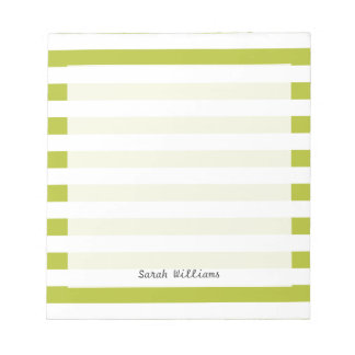 Green and White Stripe Pattern Notepads
