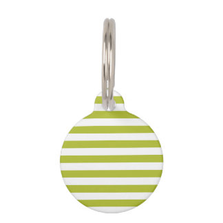 Green and White Stripe Pattern Pet Name Tag