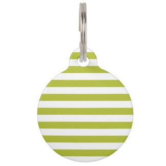 Green and White Stripe Pattern Pet Tag