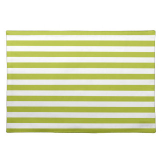 Green and White Stripe Pattern Placemat