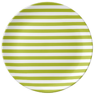 Green and White Stripe Pattern Porcelain Plate