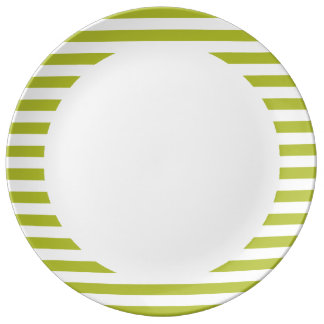 Green and White Stripe Pattern Porcelain Plates