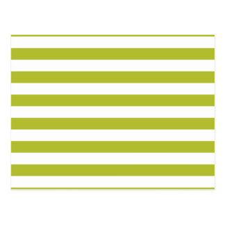 Green and White Stripe Pattern Postcard