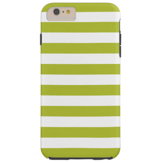 Green and White Stripe Pattern Tough iPhone 6 Plus Case