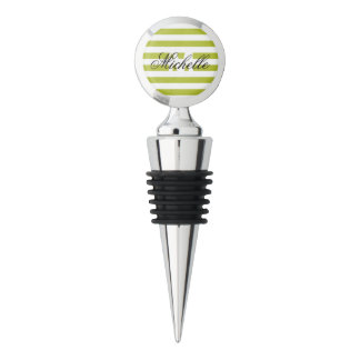 Green and White Stripe Pattern Wine Stopper
