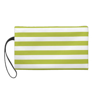Green and White Stripe Pattern Wristlet