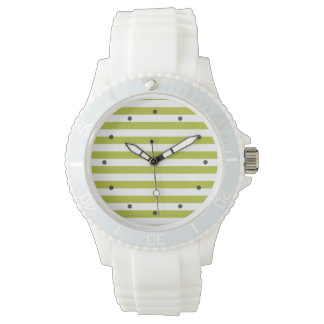 Green and White Stripe Pattern Wristwatches