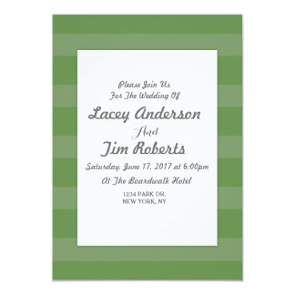 Green and White Stripe  Wedding Invitation