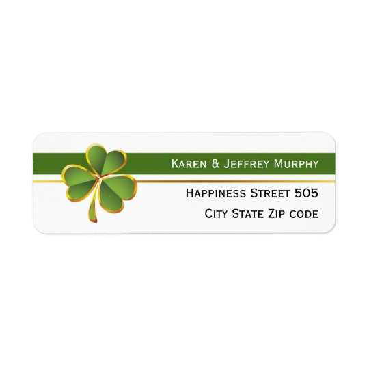 Green and white stripes and clover Irish wedding Return Address Label
