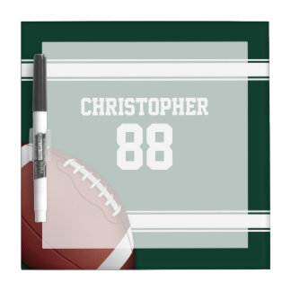 Green and White Stripes Jersey Grid Iron Football Dry-Erase Whiteboards