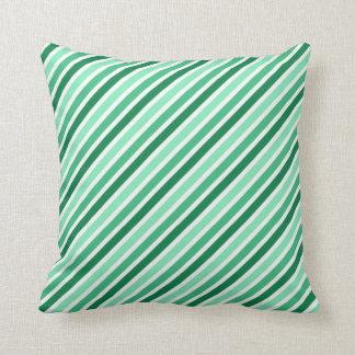 Green And White Stripes Throw Pillows