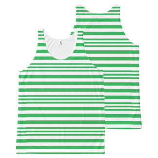 Green and White Stripes X 3 All-Over-Print Tank Top
