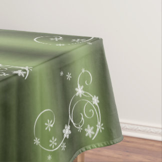 Green and White Swirls Christmas Tablecloth