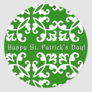 Green and White Swirls St. Patrick's Day Stickers
