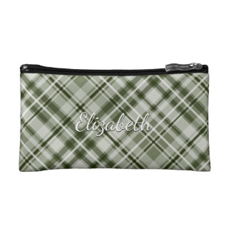 green and white tartan plaid cosmetic bags