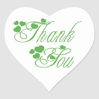 Green And White Thank You Love Hearts - Wedding Heart Sticker