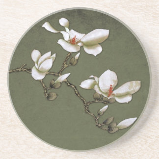 Green and White Vintage Magnolia Coaster