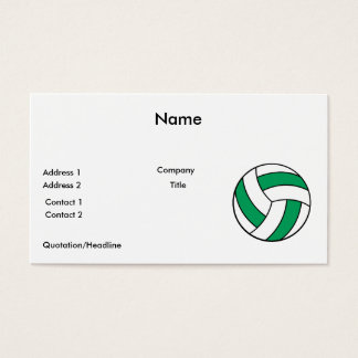 green and white volleyball business card