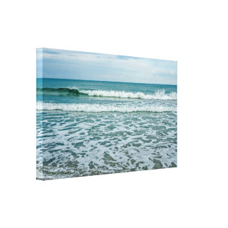 Green and White Waves Rolling and Splashing Canvas Print