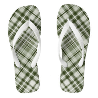 Green and white with grayed jade tartan plaid flip flops
