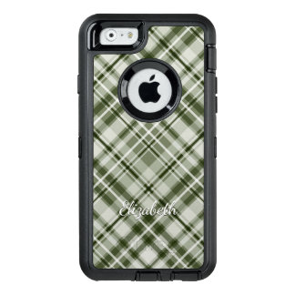 Green and white with grayed jade tartan plaid OtterBox defender iPhone case