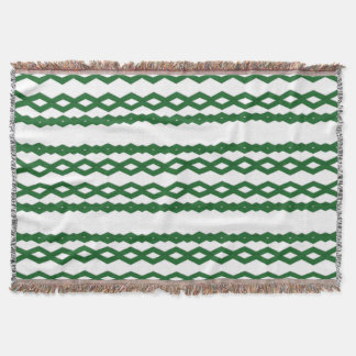 Green and White Zigzag Comfy Throw Blanket