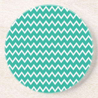 Green and White Zigzag Pattern Beverage Coaster