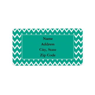 Green and White Zigzag Pattern Label
