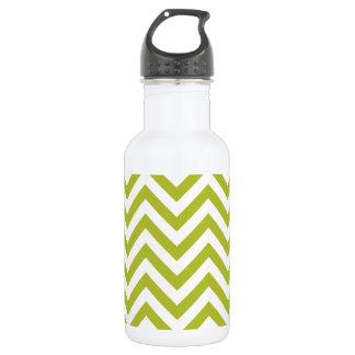 Green and White Zigzag Stripes Chevron Pattern 532 Ml Water Bottle