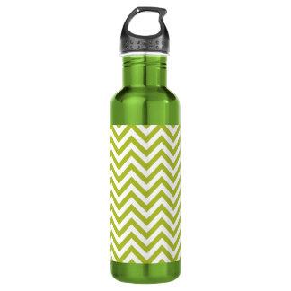 Green and White Zigzag Stripes Chevron Pattern 710 Ml Water Bottle