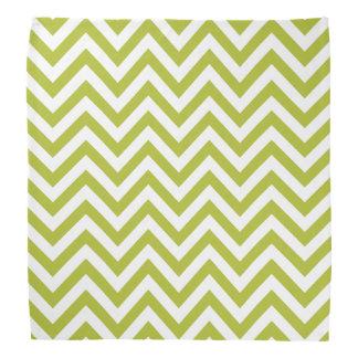 Green and White Zigzag Stripes Chevron Pattern Bandana