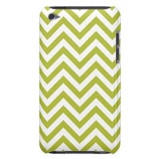 Green and White Zigzag Stripes Chevron Pattern Barely There iPod Case
